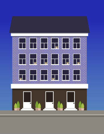 A multi-storey dwelling house made of blue bricks. Vector illustration.