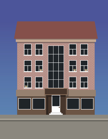 A multi-storey apartment house made of pink brick. Illustration