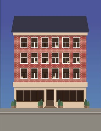 Residential multi-storey house made of red brick with a shop on the first floor. Illustration