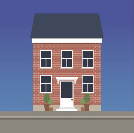 Two-story classic house made of red brick. Vector illustration.