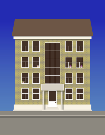 A multi-storey residential building made of beige brick.