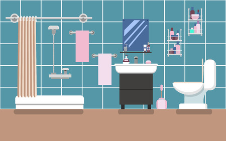 Interior of the bathroom with a shower in blue colors in the style of flat. Vector illustration. Vetores