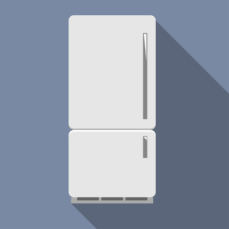 Closed refrigerator with freezer. Vector illustration in flat style.