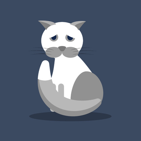 A sad gray-white cat. The vector illustration. Banque d'images