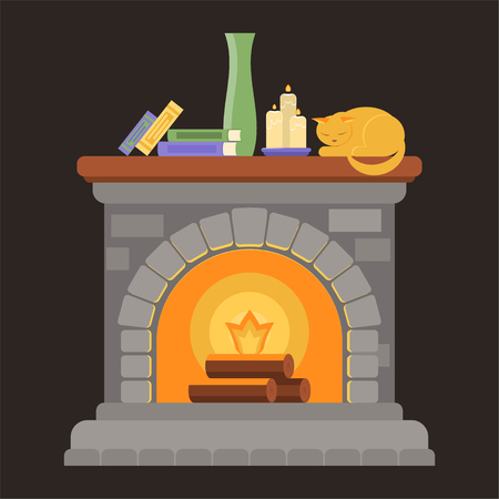 A fireplace made of gray bricks with a wooden shelf with books, candles, a vase and a sleeping cat. Vector illustration in the style of flat. Illustration