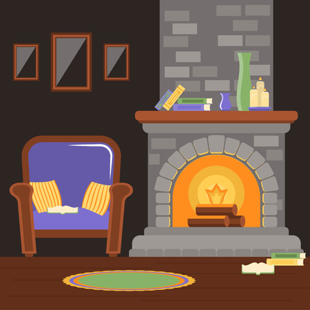 Interior living room with fireplace and armchair, reading room. Vector illustration in the style of flat. Stockfoto - 111804050