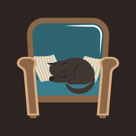 A gray house cat sleeps on an armchair between the pillows. Vector illustration in the style of flat. Vektoros illusztráció