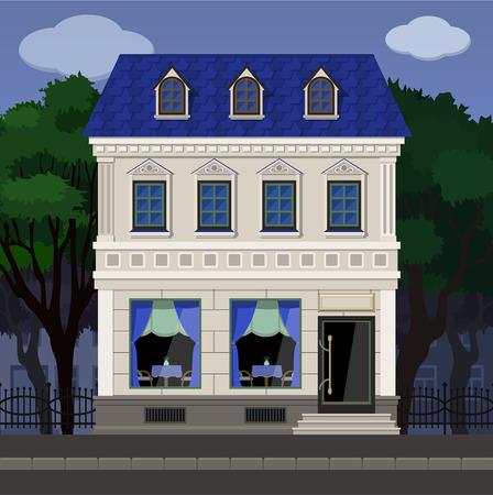 La façade du café dans un ancien bâtiment classique sur le fond du parc. Illustration vectorielle avec un masque d'écrêtage. Vecteurs