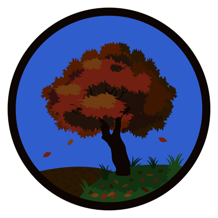 Autumn tree with falling leaves in the hills in autumn framed by a round frame. Vector illustration.