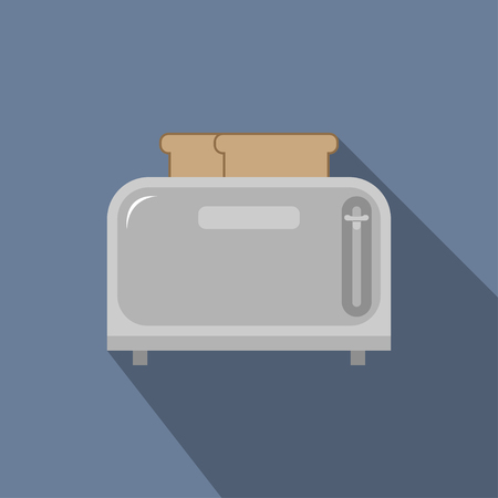 Steel toaster with two slices of bread, vector illustration in a flat style isolated on a blue background