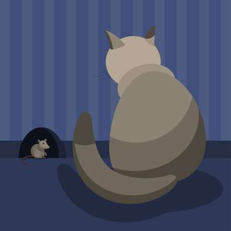 A gray domestic cat watches the mouse at her hole in the wall of the room. Vector illustration.