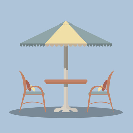 Bistro round table with open umbrella tent and two chairs. Vector illustration in a flat style