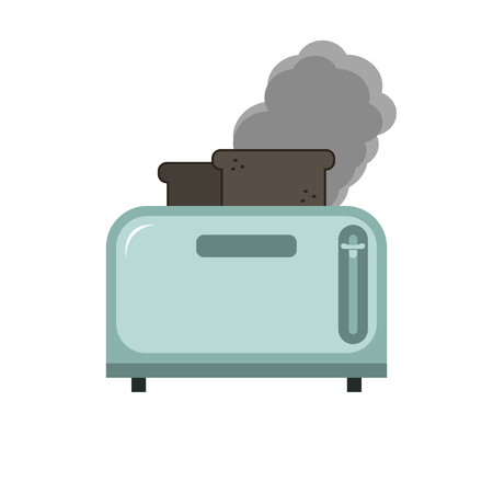 Metallic blue Toaster with two burnt pieces of bread in a flat style. Isolated object on white background. Banque d'images