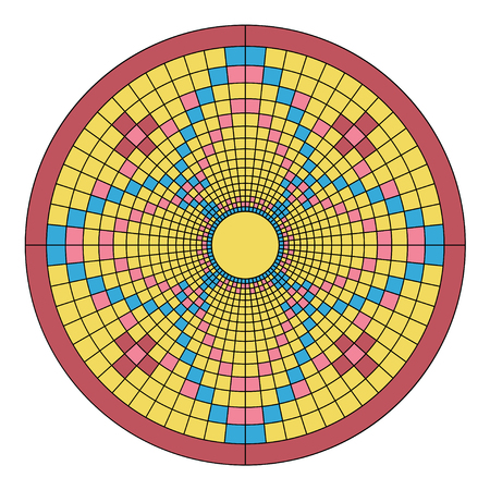 Color Mosaic floral ornament imitating the pattern of the mandala. Surrounded by a pink ring.