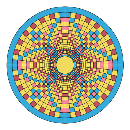 Color Mosaic floral ornament imitating the pattern of the mandala. Surrounded by a blue ring. Illustration
