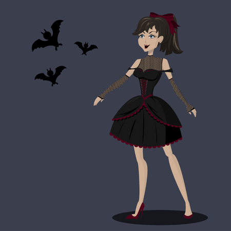 Pretty girl in black gothic dress with bats. Halloween party. Illustration
