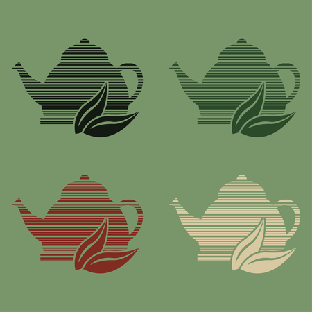 Set of 4 icons of stylized teapots with different teas
