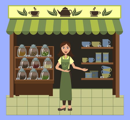 A small shop selling tea and tableware for tea with a cute saleswoman.