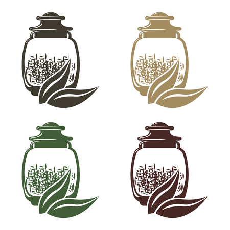 Icon set of glass jars with different weights of tea. Banque d'images
