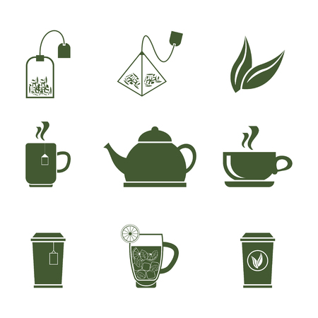 Green Tea Icons Set on White Background.