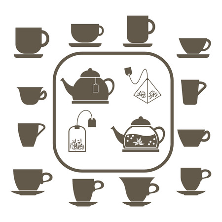 A set of 12 cups of various shapes, two teapots and tea bags.