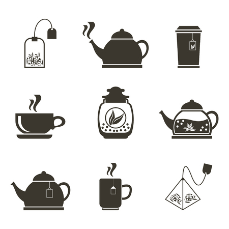 Set of 9 icons for tea drinking. Dishes and various teas.