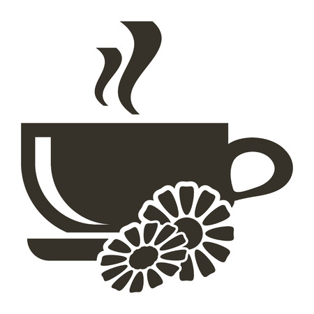 Icon cup of hot tea with chamomile flavor. Logo in flat style Illustration