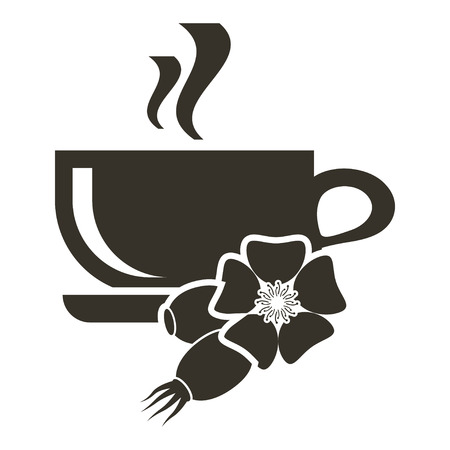 Icon cup of hot tea with taste of wild rose. Logo in flat style