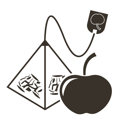 Icon tea bag-pyramid with apple flavor. Logo in flat style