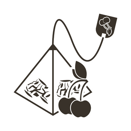 The icon of a tea bag pyramid with a cherry or cherry flavor. Logo in flat style