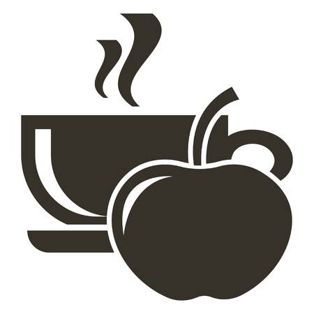 Icon cup of hot tea with apple flavor. Logo in flat style