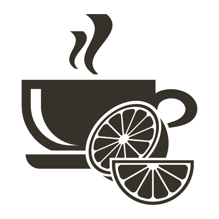 Icon cup of hot tea with citrus flavor. Logo in flat style
