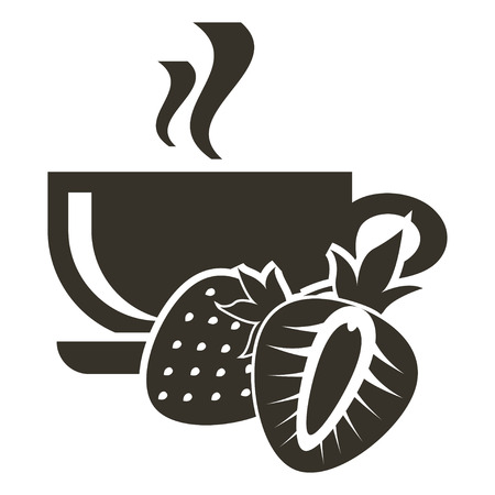 Icon cup of hot tea with strawberry flavor. Logo in flat style Illustration