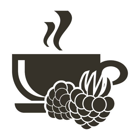 Icon cup of hot tea with raspberry flavor. Logo in flat style Illustration