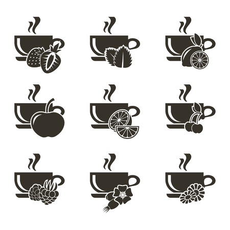A set of 9 icons of cups of tea with different flavors of berries, fruits and herbs.