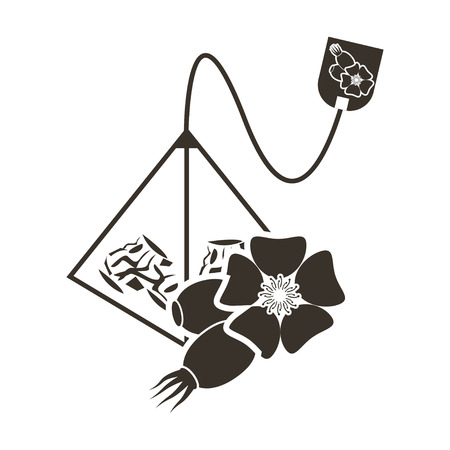 Icon tea bag-pyramid with a taste of chamomile. Logo in flat style