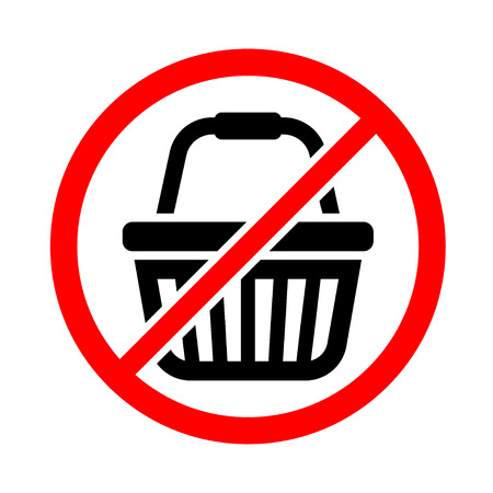 Icon for the day of rejection of shopping. Black crossed out shopping cart icon. Vector illustration.