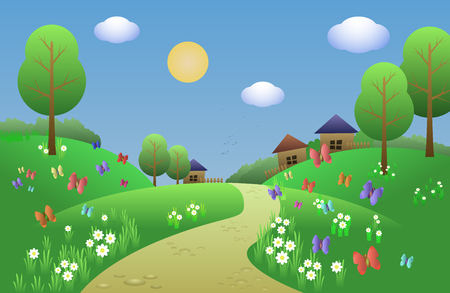 cheerful and cheerful landscape for a children s book with green hills, daisies, butterflies, trees and the village in the background. Vector illustration.