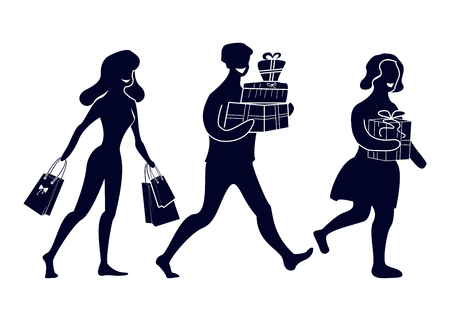 Silhouettes of abstract people with purchases and gifts. Going happy buyers. Illustration in modern flat style. Illustration