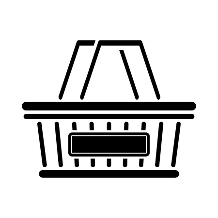 Stylized shopping basket icon. Logo grocery basket. Vector symbol.
