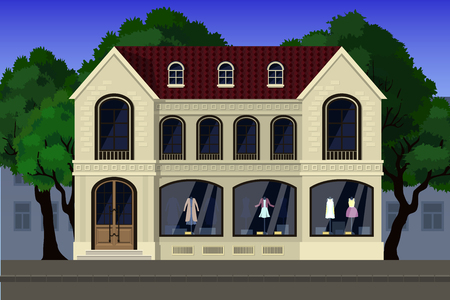 A store of elite clothing, located on the first floor of the house in a classic style. Illustration