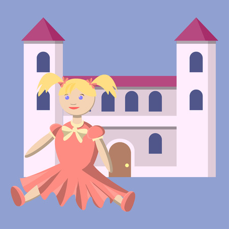 Toys for the little princess. A doll in a beautiful dress and a toy castle. Illustration