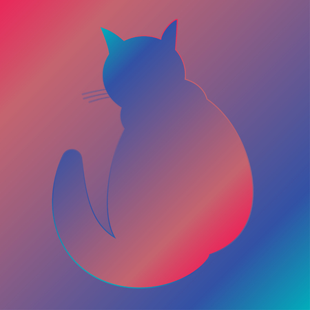 Silhouette of a cat with a gradient fill. Home cat icon in purple-blue gradient. Illustration