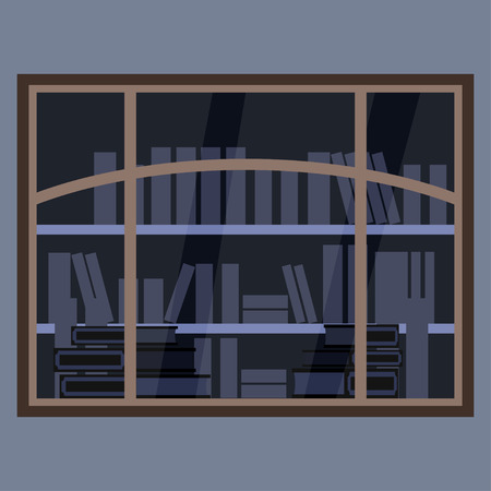 Showcase bookstore. View of the window from the street. An element of design or architecture. Illustration