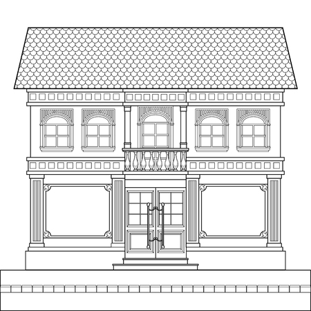 A drawing of a classic brick two-story building with shop windows for shops on the ground floor and an entrance in the center. Vector linear drawing on white background. Illustration