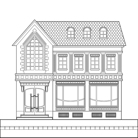 A drawing of a classic brick two-story building with shop windows on the ground floor. Vector linear drawing on white background.