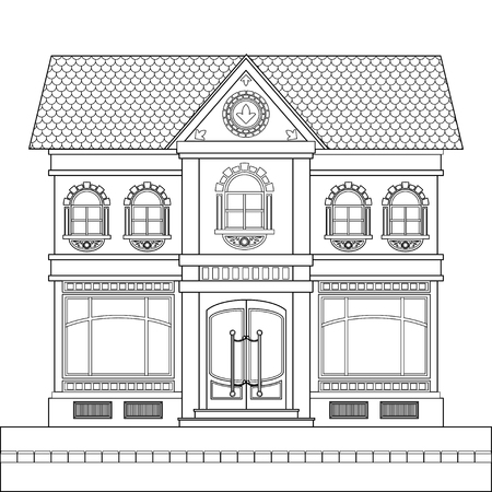 A drawing of a classic brick two-story building with shop windows for shops on the ground floor and windows with stucco decoration. Vector linear drawing on white background.