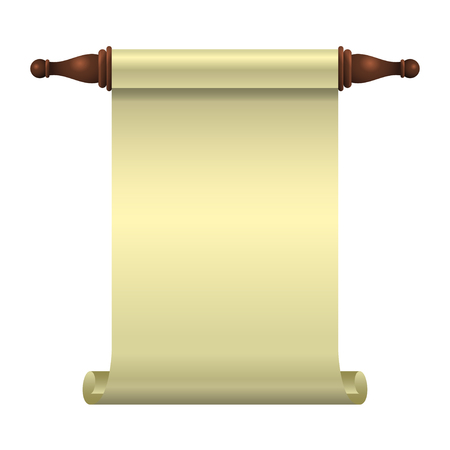 An empty scroll is an opened scroll unrolled vertically for a book illustration. Isolated object. Vector illustration