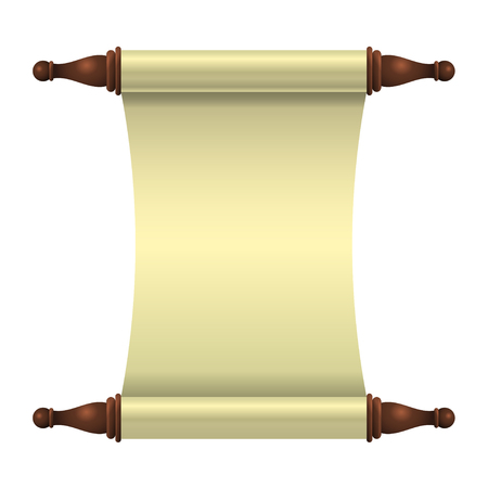 An empty scroll is an unfolded scroll unrolled vertically. Vector illustration. Illustration