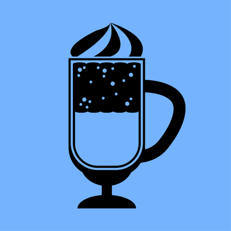 coffee cocktail icon on blue background. Vector Isolated Object